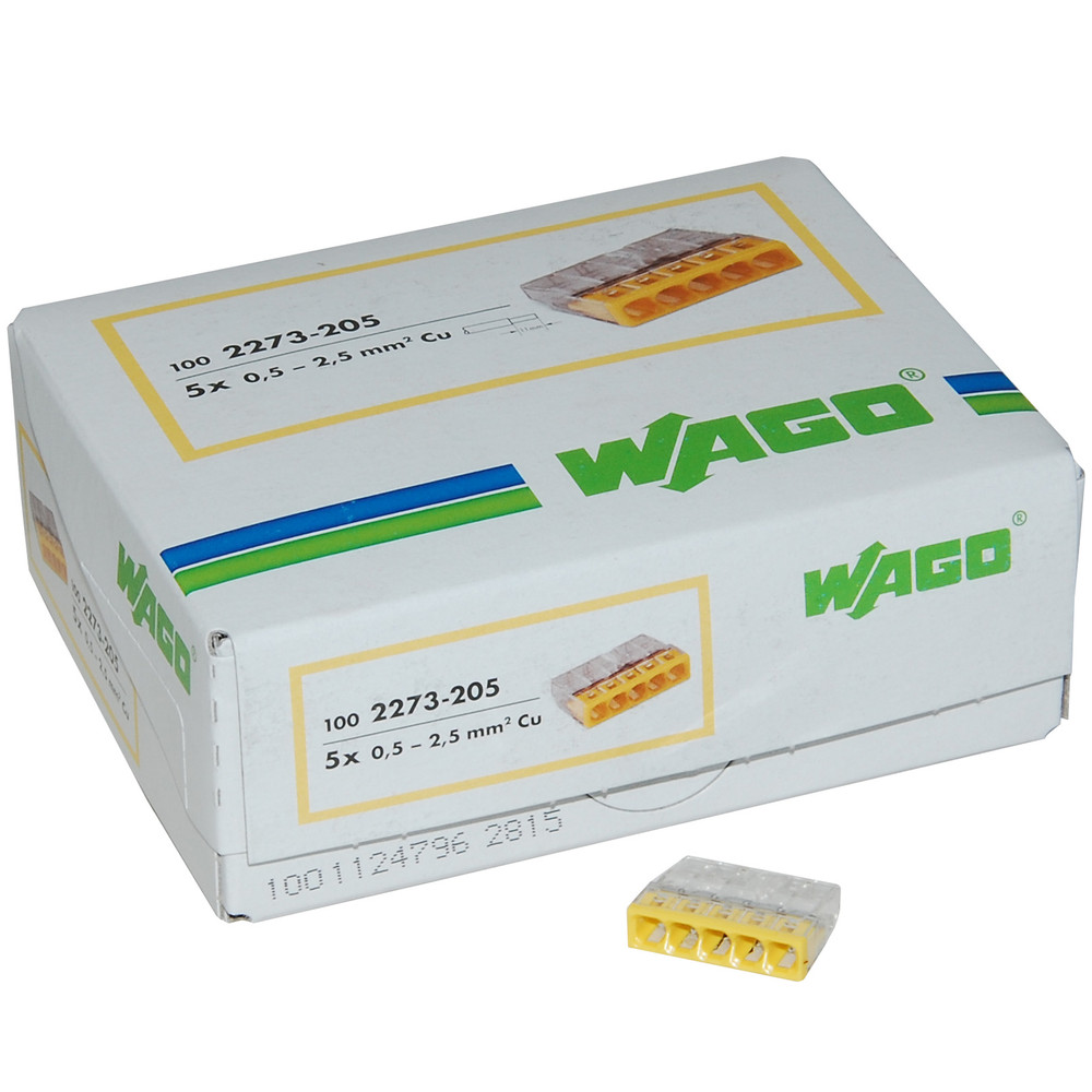 Wago 2273-205 Push Wire Connector, 5 Conductor, Box Qty 100