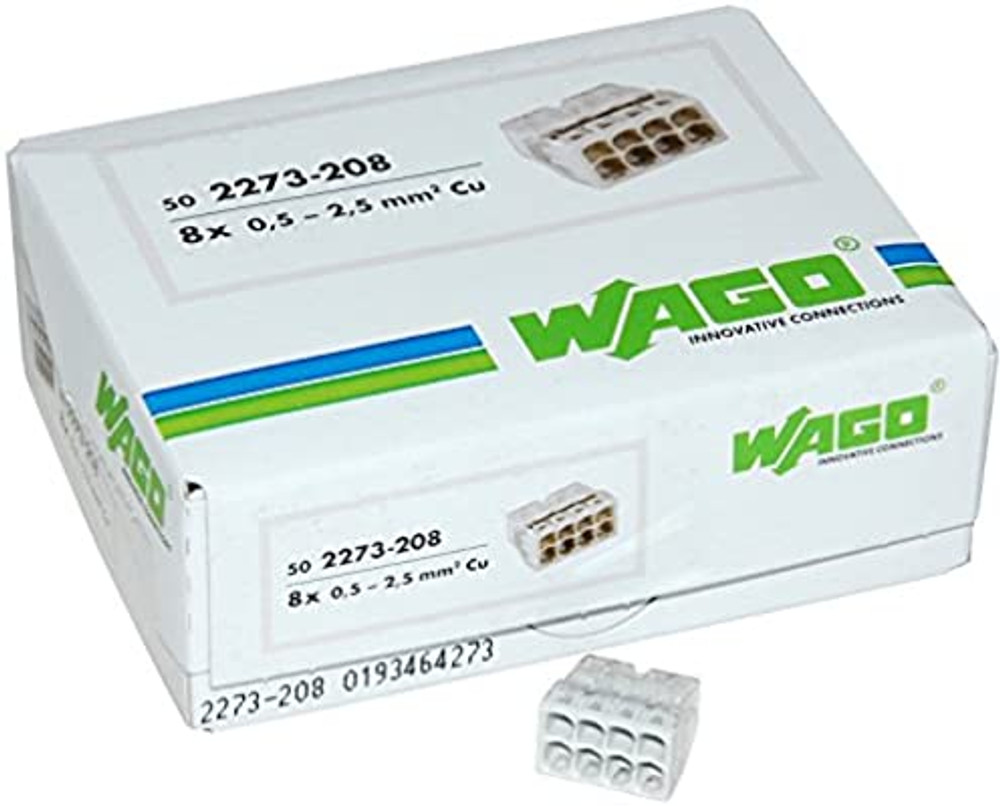 Wago 2273-208 Push Wire Connector, 8 Conductor, Box Qty 50
