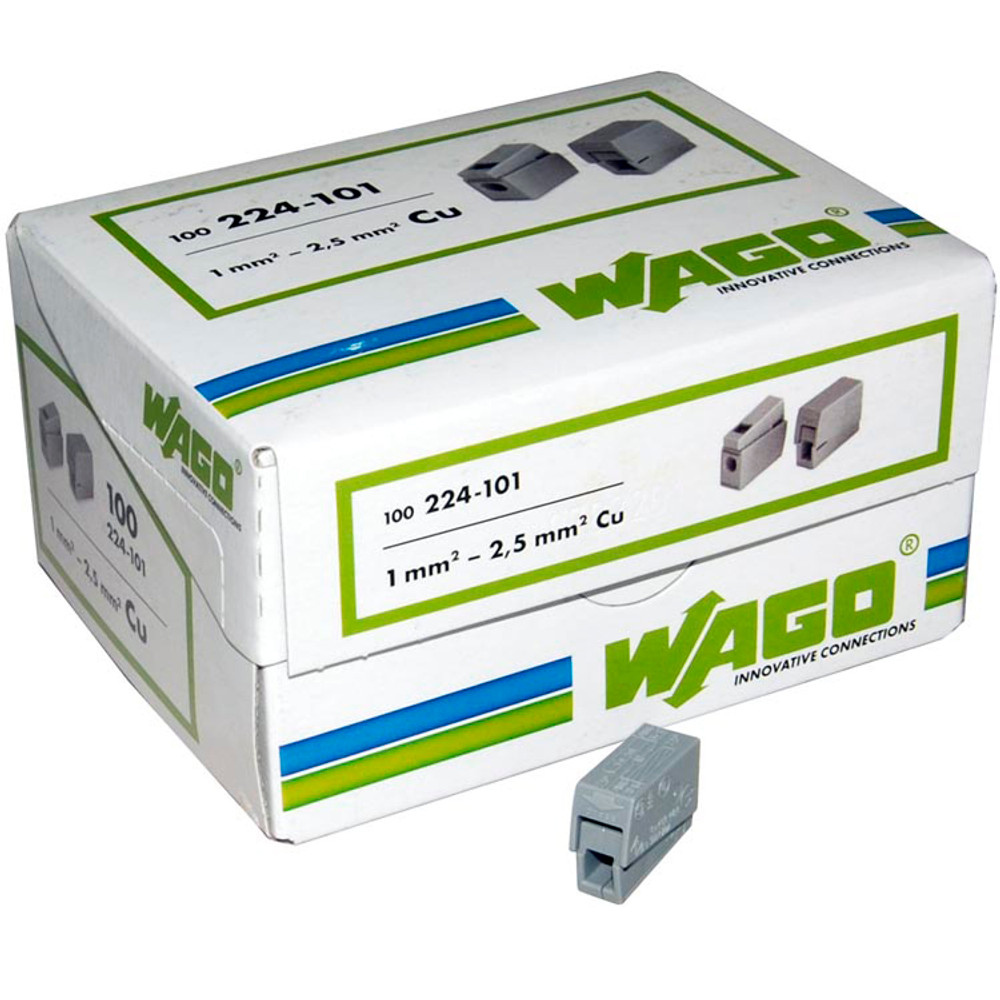 Wago 224-101 - Lighting Connector 1 to 1 , 1 Solid to 1 Flex, Box qty 100