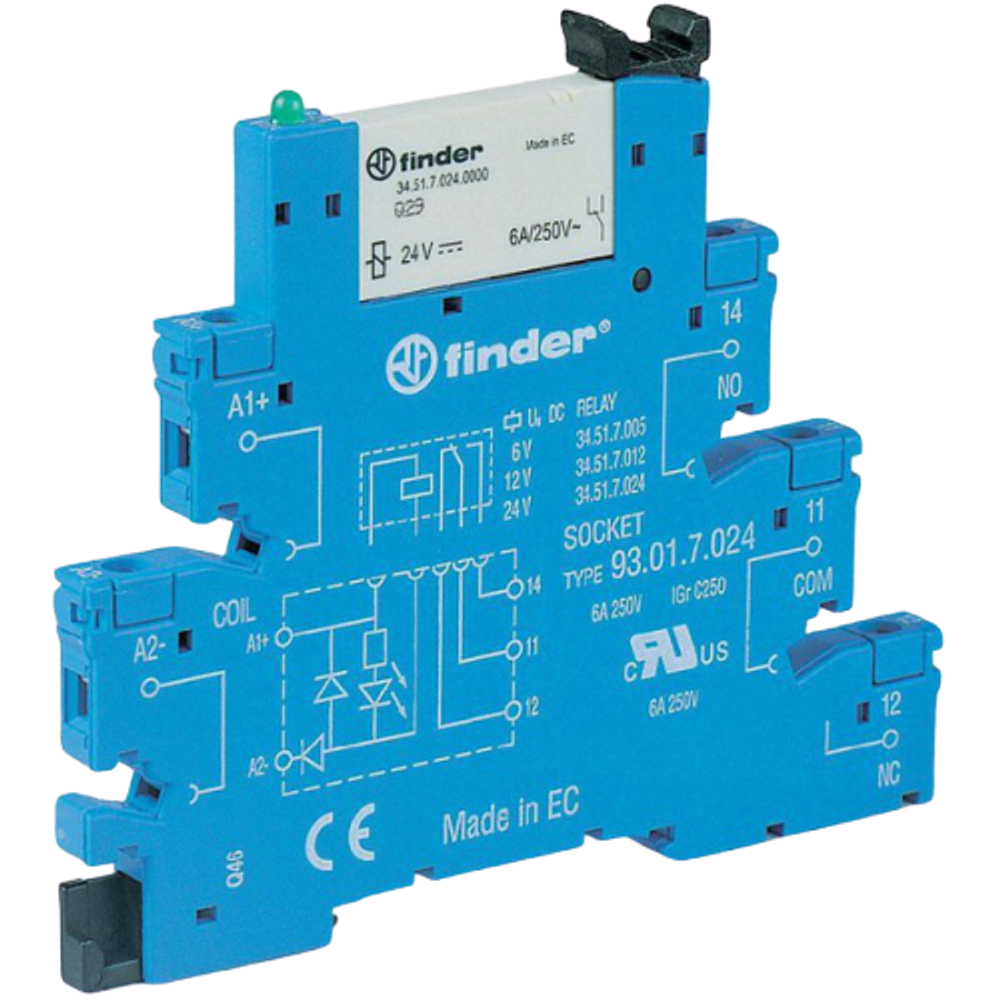 FINDER 38 Series 1 Pole Slimline 230Vac Relay & Base, 6A