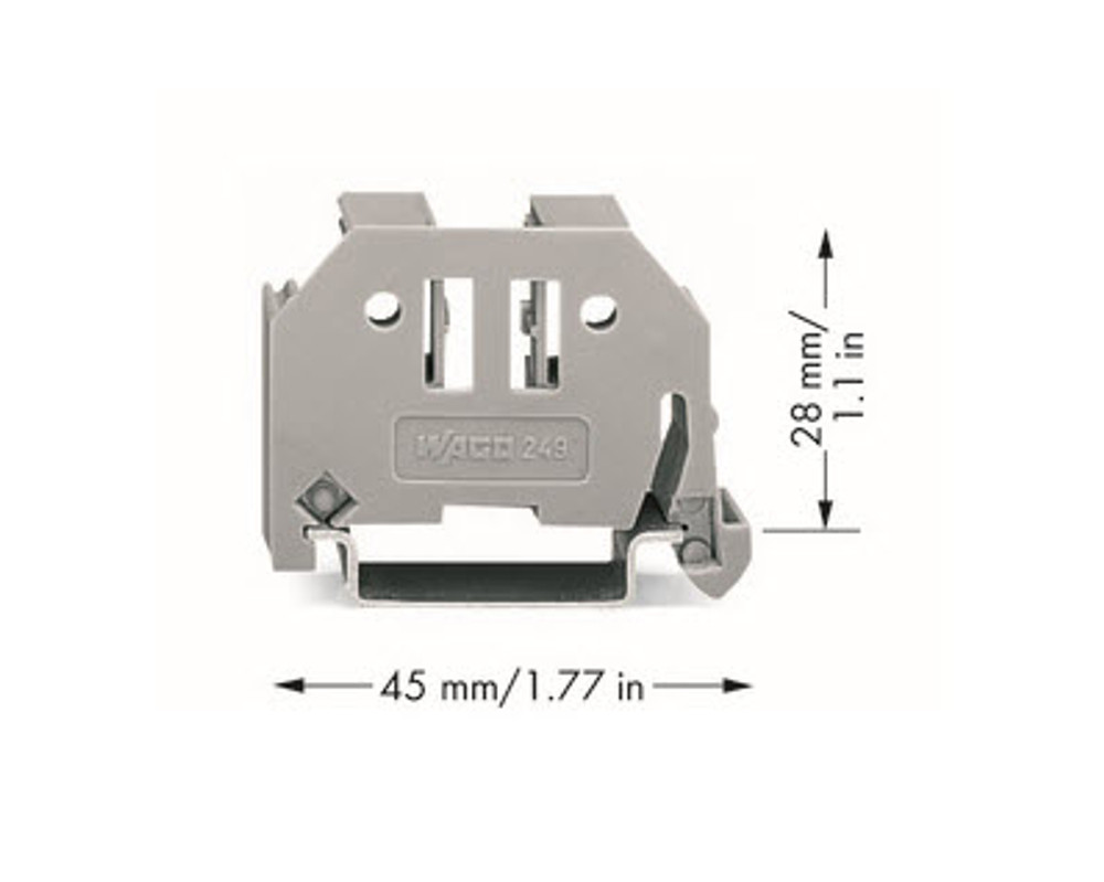 Wago End-Stop Screwless Snap-on 10mm Wide for T35 Din Rail - Grey; Bag Qty 25