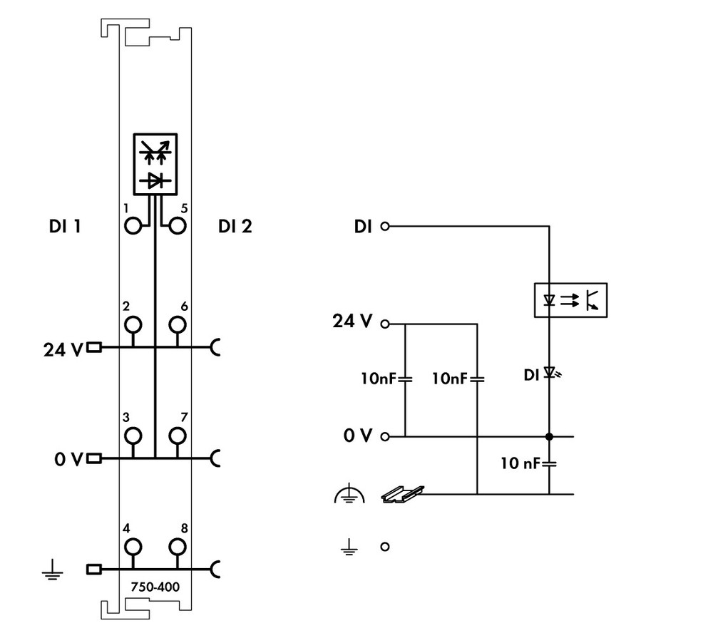 Wago 750-400  2 Channel 24VDC Digital Input Module