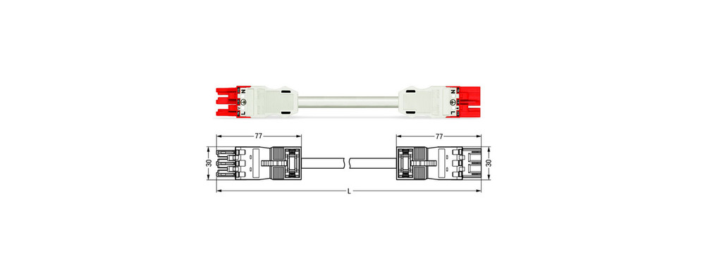Wago WINSTA® MIDI 3 Pole Cable assembly Plug to Socket for Dali. Halogen free 3 x 1.5mm² cable 16Amp/250V Rating. White Cable, Red Socket & Plug. Marked L E N. Box Qty 10.