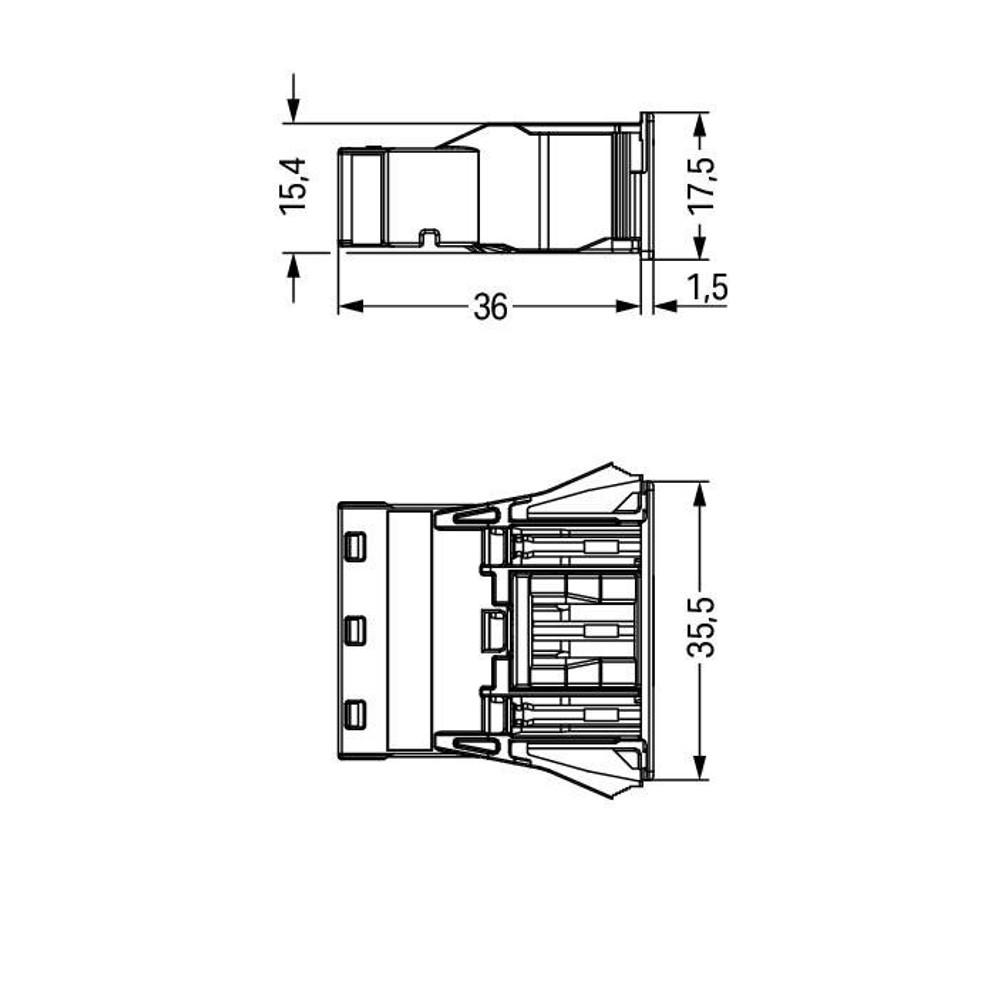 WAGO Snap-in socket; 3-pole