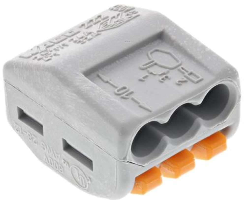 Wago 222-413 - Connector with levers, 3 Conductor, Box qty 50
