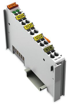 WAGO 2-channel relay output; 125 VAC; 0.5 A; Potential-free; 2 changeover contacts; light gray