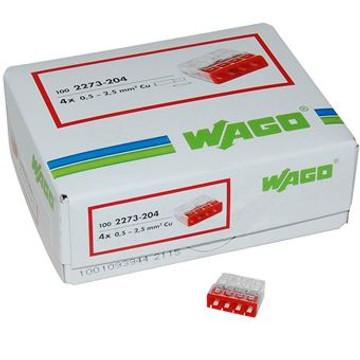 Wago 2273-204 Push Wire Connector, 4 Conductor, Box Qty 100