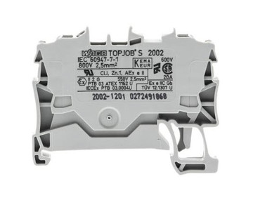 Wago TOPJOB®S Rail-mounted terminal Grey 0.75 to 2.5mm² ferruled cable; 0.75 to 4mm² Push-in Solid Conductor; Box Qty 100