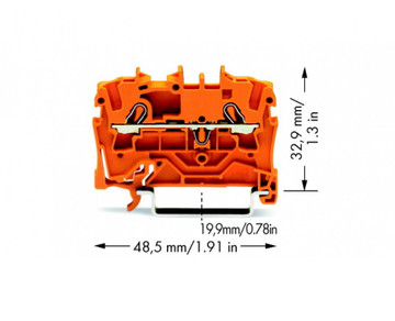 Wago TOPJOB®S Rail-mounted terminal Orange 0.75 to 2.5mm² ferruled cable; 0.75 to 4mm² Push-in Solid Conductor; Box Qty 100