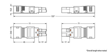 WAGO Plug; with strain relief housing; 3-pole