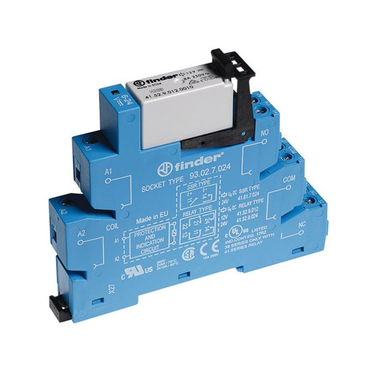 FINDER 38 Series  2 Pole Slimline 24V DC Relay & Base, 8A