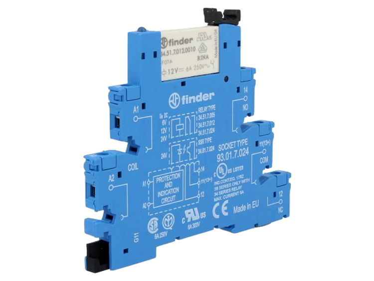FINDER 38 Series 1 Pole Slimline 110Vac Relay & Base, 6A
