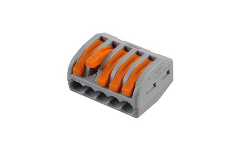 Wago 222-415 - Connector with levers, 5 Conductor, Box qty 40