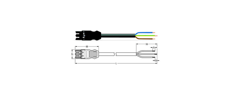 Wago WINSTA® MIDI 3 Pole Cable assembly Plug to Free End. Halogen free 3 x 1.5mm² cable 16Amp/250V Rating. Black Cable & Plug. Marked L E N. Box Qty 10,