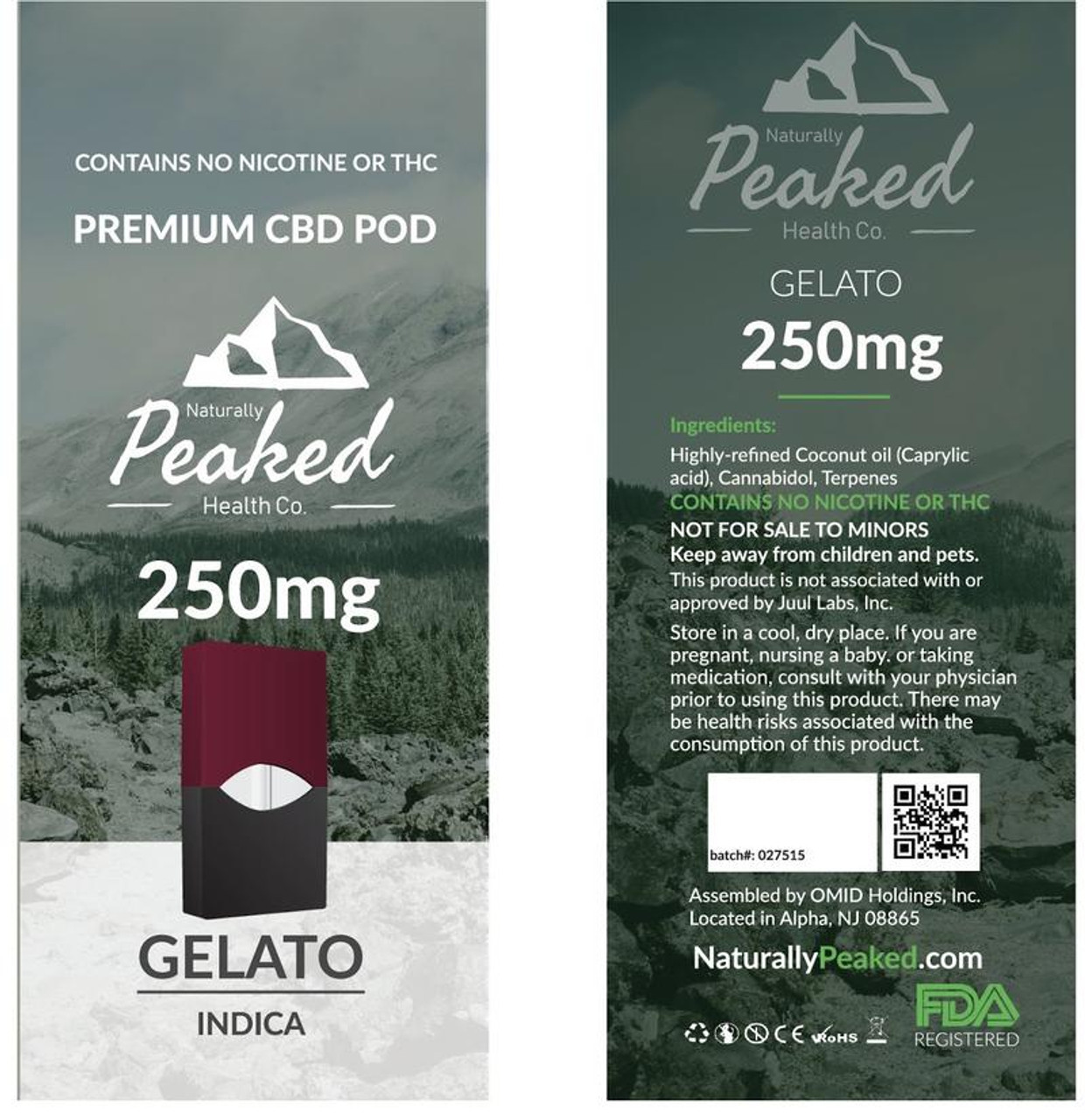 Classed as an indica, Gelato is really effective for stress and anxiety, producing relaxing and mood-enhancing benefits. The uplifting nature of this strain may also give you a creativity spark. Like all indicas, Gelato can be used to combat pain and may also be helpful for treating headaches. Naturally Peaked 100% Organic CBD Vape Pod. 250MG of CBD per Pod. Each Package Contains 1 Vape Pod