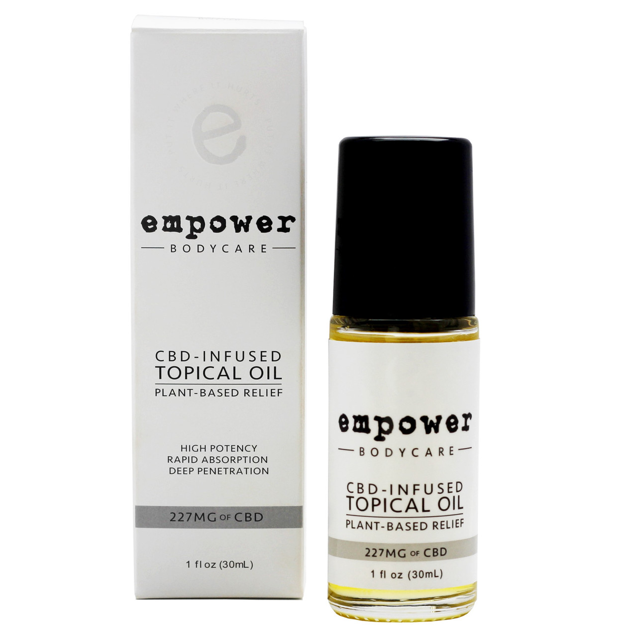 The synergistic combination of essential oils, non-GMO carrier oils, and hemp-derived CBD extract in Empower® Topical Relief Oil soothes discomfort* and provides focused relief.