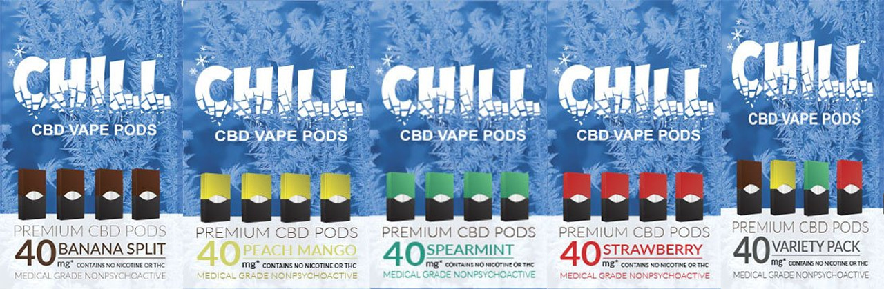 Chill CBD Pods for Juul | CBD Vape Pods - Chill CBD Juul Compatible Pods | 160MG's of US Sourced Organic CBD | 4 Packs | 4 delicious flavors. Get Your Juul CBD Vape Pods Only On ELiquidUniverse.com- CBD Vape Pods Compatible with Juul device! WE ARE NOT AFFILIATED WITH JUUL. *Juul is a trademark owned by Juul Labs