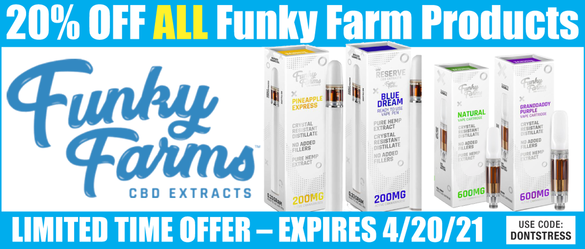 The Funky Farms family and Strategic Partnership with CBDResellers.com is dedicated to pushing industry standards to new heights by delivering compelling new products you won't find anywhere else. CBDResellers.com | Real CBD. Simplified.©️