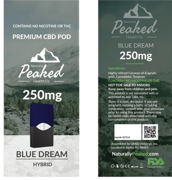 This is the sole hybrid cartridge in the Naturally Peaked selection, and is the perfect strain if you want a mix of indica and sativa effects. This cartridge works well for those who desire pain relief but still need to be on top of their mental game throughout the day. A tasty cartridge, sweet, berry flavors shine through with Blue Dream. Naturally Peaked 100% Organic CBD Vape Pod. 250MG of CBD per Pod. Each Package Contains 1 Vape Pod