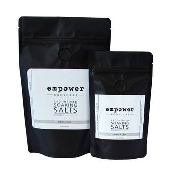 Soaking Salts are a luxurious blend of Epsom, Pink Himalayan and Dead Sea Salts infused with a proprietary blend of essential oils and hemp-derived CBD extract cultivated using natural and sustainable methods.