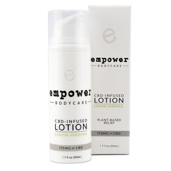 The synergistic combination of essential oils, organic carrier oils, and hemp-derived CBD extract in Empower® Topical Relief Lotion soothes discomfort*, refreshes and moisturizes the skin, and helps invigorate the body.*