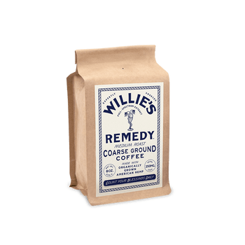 Willie's Remedy Medium Blend 8oz Ground Coffee, 250mg CBDSweet flavors of toasted marshmallow and graham crackers with subtle milk chocolate undertones create a perfect balance in this full-bodied blend. Pre-ground.