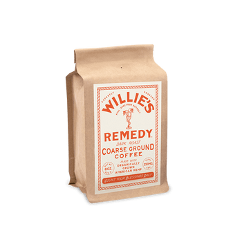 Willie's Remedy Dark Blend 8oz Ground Coffee, 250mg CBDThis classic dark roast is robust and rich with a bold cocoa flavor dominating the cup and subtle elements of spice and toasted grain lingering on the finish. Pre-ground.