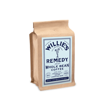 Willie's Remedy Decaf Blend Ground 8oz  250mg CBDThis rich coffee is naturally decaffeinated without the use of chemicals and makes a full-bodied cup with flavors of chocolate syrup and a mild acidity. All the flavor, ritual and anti-oxidants of coffee, plus the calm from cannabis.