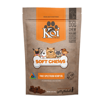 KOI CBD Soft Chews are designed with only one thing in mind—your pet's health. Made with 100% Pure True-Spectrum CBD Oil, our treats contain the best, Non-Gmo, All-natural ingredients. Providing a True-Spectrum of synergistic compounds. Our proprietary formula features a blend of naturally occurring CBD, supporting cannabinoids, terpenes and several other beneficial compounds. We ensure the purest, most beneficial, non-psychoactive and non-toxic True-Spectrum hemp oil. 0% THC, and natural bacon flavor, whether they're used as a treat or dietary supplement, your pet will be begging for more.