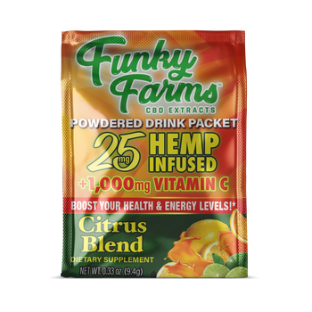 Funky Farms brings us this revitalizing Tropical Citrus CBD hemp infused drink mix powder! The tantalizing flavors of orange, kiwi, and natural tropical flavors infused with high quality CBD Hemp. Plus, with ingredients like B vitamins, Echinacea, zinc, and vitamin C, your immune system will thank you for all the support. This is one mid-day pick-me-up that you can feel good about indulging in.