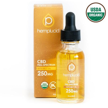 USDA Organic Hemplucid Full-Spectrum CBD in MCT Oil 250mg - 2,000mg. This full-spectrum tincture is nutritionally enhanced with organic coconut-derived MCT oil. Our MCT oil tincture pairs Whole-Plant CBD with organic fractionated coconut oil. Hemp extracts are naturally fat-soluble and mix easily with coconut sourced MCT oil. This mild-tasting tincture is great for sensitive palates and offers clean fuel for the body in the form of healthy fats.