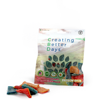 CBD Rainbow Belt Gummies with fast acting benefits of nano-amplified CBD. Rainbow Belts CBD Infused Gummies. Safe, gentle, and effective, this formulation provides naturally occurring antioxidants to support a healthy endocannabinoid system. This formula and all Creating Better Days formulas are 100% THC-free and non-psychoactive.