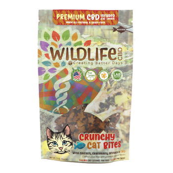 Cat Treats are formulated to provide the delicious reward of true flavor. Crunchy Cat Bites offer cats  CBD in every conveniently tiny, star-shaped bite. Its small size caters to fit even the smallest mouths of adult cats, so all breeds can enjoy a wholesome blend of chicken, cranberry and spinach. This formula is 100% THC-free and non-psychoactive.