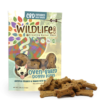 Nano-CBD Large Dog Bone Treats 150mg are unique, artisanal gourmet baked treats infused with Nano-Amplified CBD. Formulated for large breeds, large treat bags include fifteen 10MG bones. These oven-baked crunchy biscuits are a delicious way reward your pup. They're naturally preserved with vitamin E so there's no need for artificial preservatives. This formula is 100% THC-free and non-psychoactive.