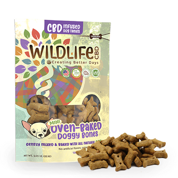 Nano-CBD Mini Dog Bone Treats 150mg are unique, artisanal gourmet baked treats infused with Nano-Amplified CBD. For for large or small breeds, each bag include thirty 5MG bones. These oven-baked crunchy biscuits are a delicious way reward your pup. They're naturally preserved with vitamin E so there's no need for artificial preservatives. This formula is 100% THC-free and non-psychoactive.