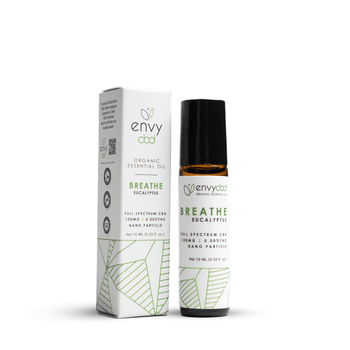 Breathe easy with Envy CBD's Essential Oil Roller!  Formulated with eucalyptus essential oil and 100mg of Full Spectrum CBD, expect an increase in relaxation and calmness as those airways open up, allowing you to take control of your day.