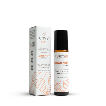 Immunity Essential Oil Roller formulated with orange essential oil and 100mg of Full Spectrum CBD, this roll-on application is designed to detoxify the body and improve general wellness with each dose.