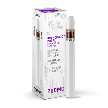 Funky Farms Granddaddy Purple CRD Disposable Vape Pen 0.3mL (200mg) the best natural vape extract in the industry. Single use and ready to vape, our Broad Spectrum Crystal Resistant Distillate (CRD) comes from a US-grown farm and lab. This product is formulated with no added cutting agents and no fillers, just pure hemp and terpenes!