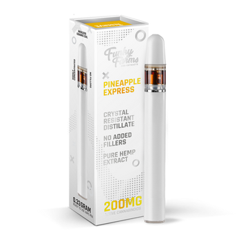 Funky Farms Pineapple Express CRD Disposable Vape Pen 0.3mL (200mg) the best natural vape extract in the industry. Single use and ready to vape, our Broad Spectrum Crystal Resistant Distillate (CRD) comes from a US-grown farm and lab. This product is formulated with no added cutting agents and no fillers, just pure hemp and terpenes!