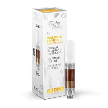 Funky Farms Pineapple Express CRD Cartridge 1mL (600mg)  Pineapple Express 600mg Cartridge is the best natural vape extract in the industry. Compatible with any 510-thread cartridge battery, our Broad Spectrum Crystal Resistant Distillate (CRD) comes from a US-grown farm and lab.  This product is formulated with no added cutting agents and no fillers