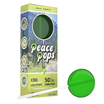 Buy CBD lollipops! Peace Pops are fat-free, gluten-free, vegan, and contain 50mg of CBD per lollipop. Made with 100% all natural and organic Hemp CBD.