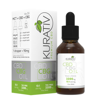 Kurativ CBD / CBG Oil THC-Free 10:1 550mg-3300mg.  high-grade 100% Organic MCT oil, blended with our top-quality THC-Free CBD extract. Then we add pure, isolated CBG to deliver a precise, highly concentrated dose.