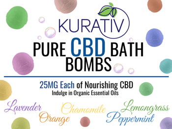 Kurativ Bath Bombs 4-Pack, 6 fragrances - 4 bath bombs per package - 100mg CBD. 25mg of cbd each, healing Epson salt, and a generous amount of organic essential oils.  Sore muscles, no more! The perfect gift idea for just about anyone needing some TLC in their lives.  Our 100mg boxes are available in Rosemary, Lavender, Lemongrass, Wild Orange, Peppermint, and Chamomile.