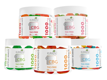Kurativ CBD / CBG Gummies 4:1 THC-Free 1000mg. Kurativ CBD / CBG Gummies are a fun and delicious way to experience the power of cbd and cbg.  Great for on-the-go relief.  Each gummy contains 4:1 cbd to cbg and 0% THC.