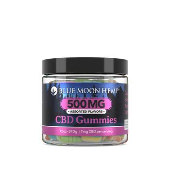 Blue Moon Hemp - CBD Gummies – 12oz 500mg.  CBD Gummies pack a variation of Gummy Worms, Bears and Drops, each delivering 7mg of soothing hemp-derived cannabinoid extracts in a mouth-watering sweet n' sour gummy.