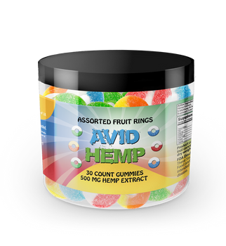 Avid Hemp CBD Gummy Rings 500mg 30ct gummies are individually dosed in precise milligrams and offer an excellent way to take consistent amounts of CBD. Gummies are also a tasty alternative for folks who aren't fond of the flavor of CBD oils. All of our products are tested by a third-party lab and contain less than .03% delta 9 THC.