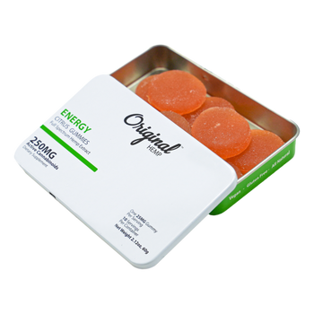 Original Hemp Energy gummies combine the power of Full Spectrum Hemp Extract, with the energizing properties of Green Tea Extract, Vitamin B12, B6 and Vitamin C to give you the burst of vitamin and nutrients you need to take on the day and stay focused.  Our Energy gummies are all-natural, vegan, with no artificial flavors or colors.  Energy gummies give you 25mg of beneficial cannabinoids and natural supplement ingredients that make you feel ready to handle anything that the day brings.