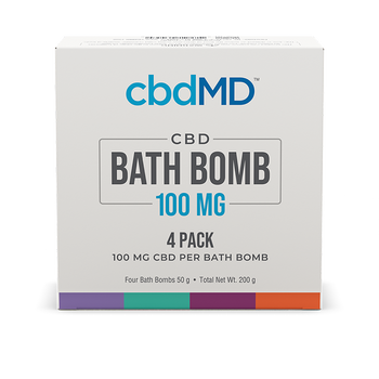 cbdMD CBD Bath Bomb 4 - Pack Made with premium CBD and essential oils, cbdMD's Signature Collection of CBD bath bombs revitalizes and relaxes. Each bath bomb contains 100 mg of premium CBD with no artificial dyes or preservatives. Coloring is non-staining and absorption-safe, allowing you to enjoy the CBD experience any time of the day or night.