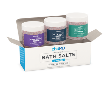 cbdMD CBD Bath Salts 3 Pack - 4oz 300mg Superior Broad Spectrum CBD formula with the most skin-pampering natural salts to bring you the ultimate bathtime luxury. Every jar contains only premium ingredients to ensure that you get the very best.