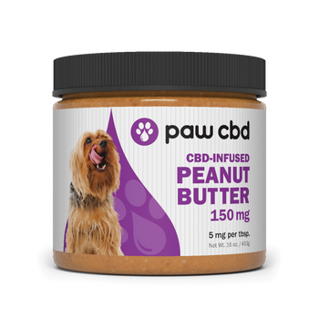 cbdMD Pet CBD Peanut Butter for Dogs 150mg- 600mg Dogs love peanut butter, and they'll go nuts for ours! Our wholesome CBD peanut butter for dogs serves up all the value of real peanuts and our Superior Broad Spectrum formula packed with CBD, additional cannabinoids (CBG and CBN), and terpenes. They'll be sitting up and begging for more!
